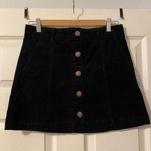 Corduroy Black Button Up Skirt w/ POCKETS!
